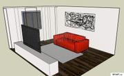 Pokoj s bíločervenou kombinací